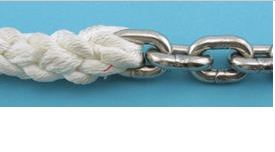 """Stainless Steel Chain & Rope Combo. 10' of 1/4"""" chain"""