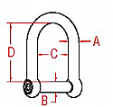 """1/2"""" Stainless Steel Wide D Shackle With No-Snag Pin"""